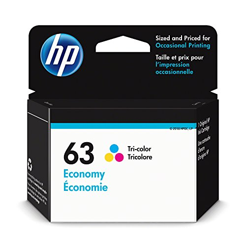 HP 63 Ink Cartridge Tri-Color Economy (1VV44AN) for HP Deskjet 1112 2130 2132 3630 3632 3633 3634 3636 3637 HP Envy 4512 4513 4520 4523 4524 HP Officejet 3830 3831 3833 4650 4652 4654 4655