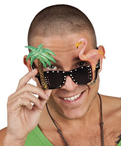 Adults Novelty Hawaiian Party Sunglasses with Palm Tree and Flamingo Accessory