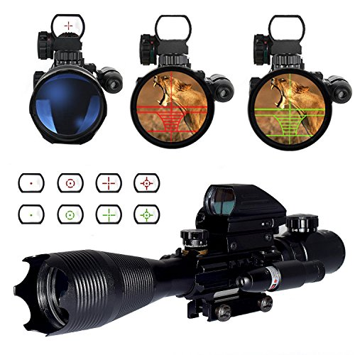 OTW Rifle Scope 4-16x50EG 3 in 1 Reflex Sight Combo with Red Dot Gun Sight Laser & Red/Green 4 Reticle Holographic & 20mm Picatinny Weaver Rail Mount for for Gun Handgun Rifle AR15 - Reflex Gun