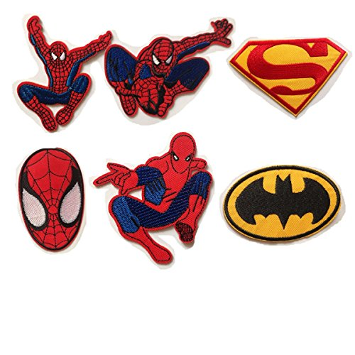 - Spiderman Batman Superman Embroidered Iron/sew on Patch Cloth Applique Set of 6 (Purple)