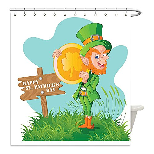 Liguo88 Custom Waterproof Bathroom Shower Curtain Polyester St. Patricks Day Decor Festive Leprechaun with Costume Holding Large Shamrock Gold Coin on Hill Multicolor Decorative bathroom - Diy Holding Head Costume