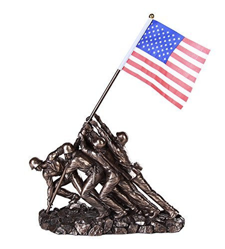 Pacific Giftware Iwo Jima US Marine Corps Memorial Statue Replica 12 inch L Cast Bronze Finish