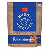 Cloud Star, Soft & Chewy Buddy Biscuits Dog Treats, Bacon and Cheese Flavor, 6-Ounce Pouches (Pack of 6)