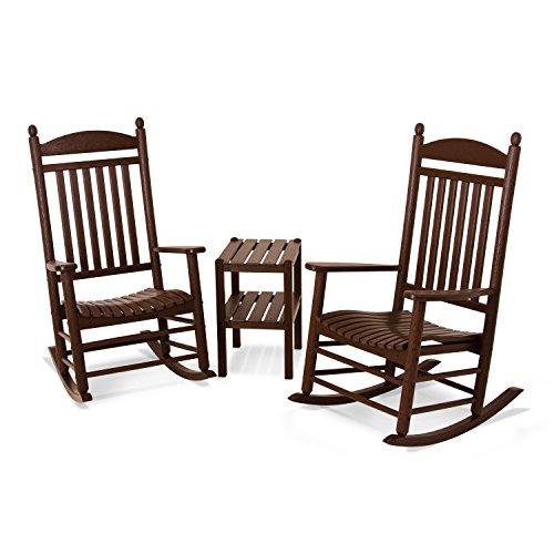 POLYWOOD PWS140-1-MA Jefferson 3-Piece Rocker Chair Set, Mahogany