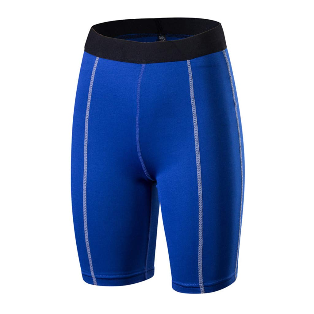 4Clovers Active Shorts Sports Yoga Shorts Elastic Workout Out Leggings Fitness Gym Running Athletic Pants Blue