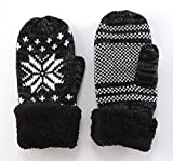 Women's Winter Knitted Mittens Gloves Inner Boa For Covering 5 Finger Thick Knit Warmest Gloves Of Double Structure Snowflake Pattern Japan Import by GlovesDEPO
