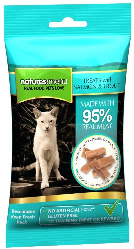 4 packs of Natures Menu Cat Treats Real Fish Salmon & Trout 60g
