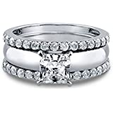 3PCS Fashion White Sapphire 925 sterling silver Wedding Engagement Ring (6)