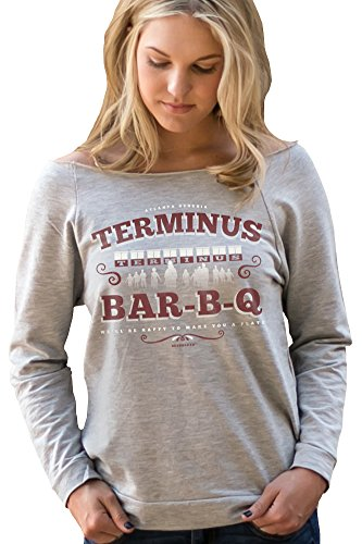 Superluxe™ Womens Terminus BBQ Vintage Zombie Apocalypse 3/4 Sleeve T Shirt, Heather Grey, (Zombie Women)