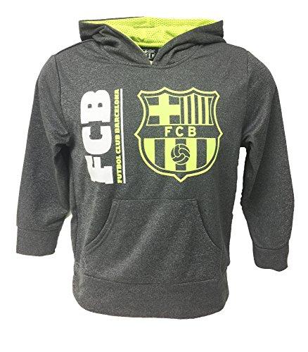 Rhinox FC Barcelona Hoodie Grey/Neon For Kids, Official Barcelona Navy Pull Over Hoodie, Hooded Sweatshirt (Youth X-Large 13-15 Years)