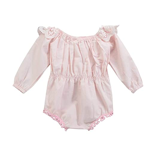 358824b29a8 AFFEco Cute Baby Girls Long Sleeve Sweet Princess Romper Lace Jumpsuit  (18-24M)
