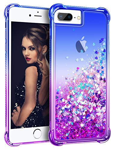 Vofolen Case for iPhone 8 Plus Case iPhone 6S Plus Cover Impact Resistant Bumper Quicksand Glitter Gradient Rubber Armor Slim Protective Shell Bling Clear Case for iPhone 6/6S/7/8 Plus (Blue Purple)