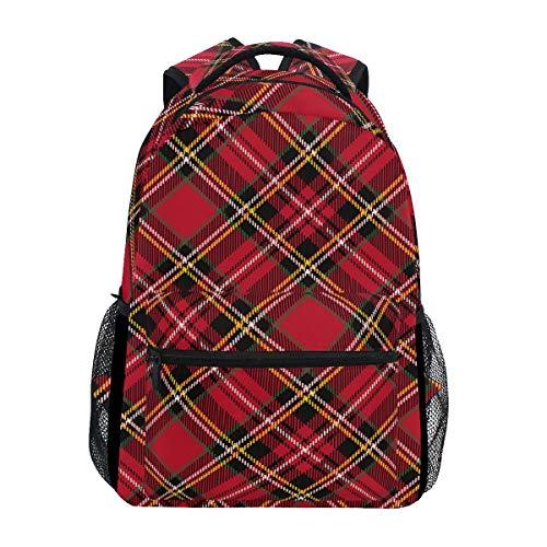 Christmas Red Dark Green Plaid School Backpack Large Capacity Canvas Rucksack Satchel Casual Travel Daypack for Adult Teen Women Men Children