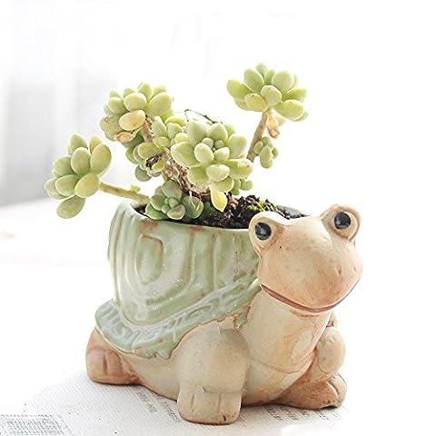 YOURNELO Vintage Ceramic Animals Plant Flower Pot Succulent Planters Vase (Tortoise 2) - Ceramic Tortoise Vases