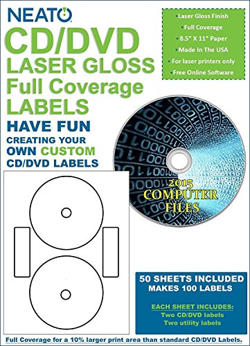 Gloss Laser Labels - Neato CD/DVD Laser Gloss Full Coverage Labels - 50 Sheets - Makes 100 Labels - Online Design Label Studio Included - Adhesive Made Specifically for CDs & DVDs