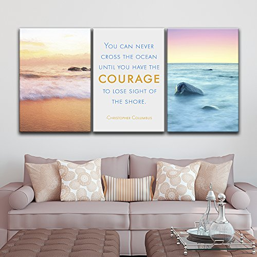 3 Panel Seascape of Waves on The Seashore with Inspirational Quotes x 3 Panels