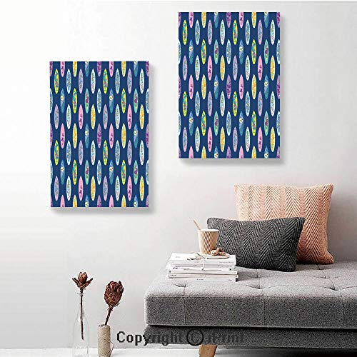 RWNFA 2 Piece Multi Panel Hanging Canvas,Boards with Aloha Hawaii Vibrant Artistic Flowers Graphic Design Hippie Hibiscus,16