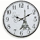Reloj De Pared De Madera 29cm–Diseño: Francia France Paris Torre Eiffel–Reloj de cocina reloj–Reloj de cuarzo