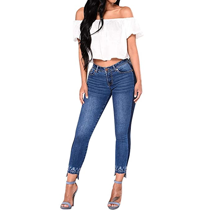 a33ba56bec Kehen Women Slim Fit Low Rise Stretch Straight Jeans Blue Small (US 0-