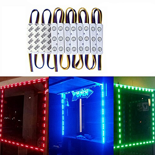 - VIPMOON 100pcs/300LED RGB 5050 Injection Module Lights Waterproof Colorful Outdoor Store Front Signage Lighting