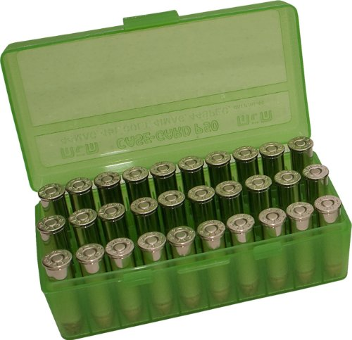 MTM 50 Round Flip-Top Ammo Box 41/44 Cal (Clear Green) - Pistol Ammo Box