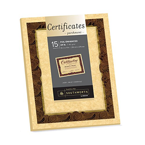 Southworth Foil-Enhanced Certificates, Brown Parchment, Gold Foil, Paisley Design, 8.5 x 11 Inches, 15-Count (98868)
