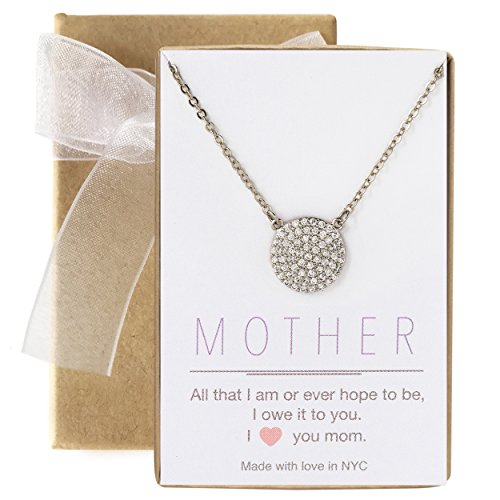 (A+O Gift for Mom, Pave Disc Necklace in Sterling Silver)