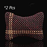 Car Headrest with Strap Wood Bead Massage Neck Pillow for Car Office and Home, Pack of 2 (Cross-shaped Red)
