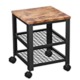 Trustiwood Vintage Serving Cart, 3-Tier Kitchen Utility Cart on Wheels with Storage for Living Room,Bedroom Wood Look Accent Furniture with Metal Frame P2 MDF