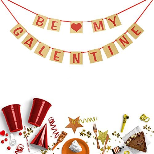 Happy Galentines Day Banner Red Glitter Banner with Hearts Garland Valentines Decorations Girls Party Favors Ladies Celebrating Theme Breakfast Decor Galentines Photo Booth Props Valentines Ideas Supplies