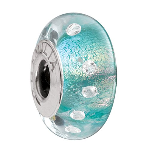 Authentic Chamilia Sterling Silver Murano Glass Radiance Collection Teal Shimmer Charm OB-201