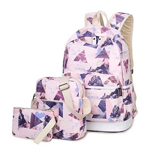 Joymoze Waterproof School Backpack for Girl Cute Backpack Set 3 Pieces for Women Irregular ()