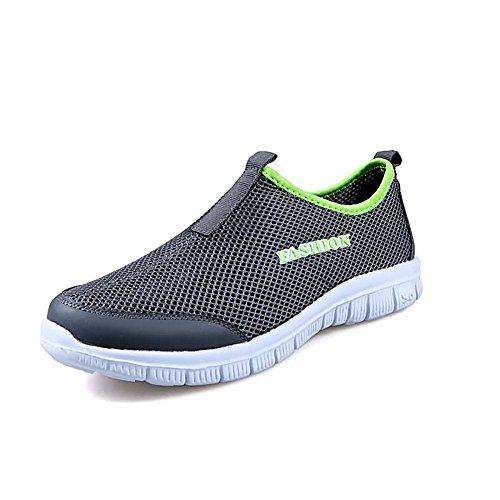 shoes Fabric Sneaker Gray Fashion Flat Dark Fashion 2018 Women's Heel Mesh and Men Jiuyue R1qFWwdq