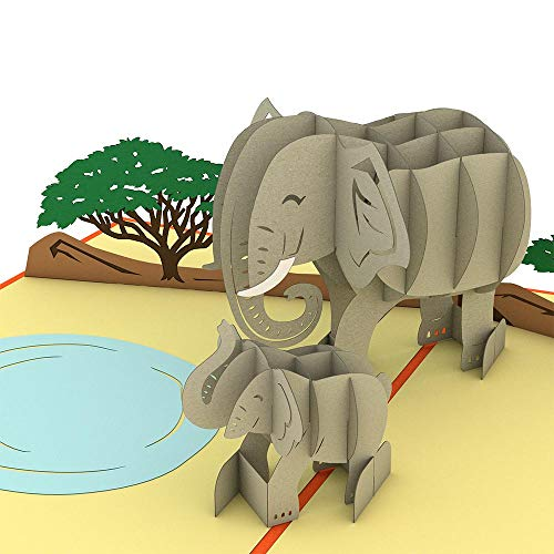 (Lovepop Elephant Family Pop Up Card, Father's Day Card, 3D Card, Elephant Card, Animal Card, Wildlife Card )