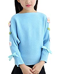 MFrannie Girl Loose Elegant Flower Spliced Bat Wing Long Sleeve Sweater Blue 7-8T