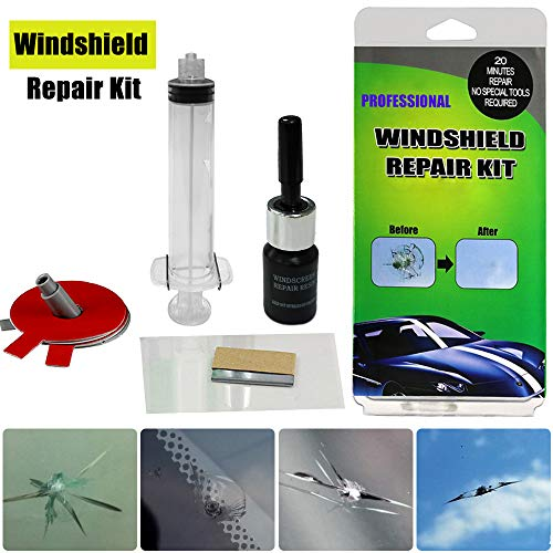 (GLISTON Car Windshield Repair Kit Tools for Chips and Cracks, Nicks, Bulls-Eye, Spider Web, Star-Shaped, Half-Moon Crescents)