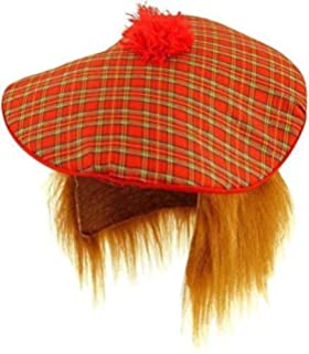 896e3a35cc1 Scottish Tam O Shanter Tartan Hat with Ginger Hair Mens Fancy Dress Adult  Unisex