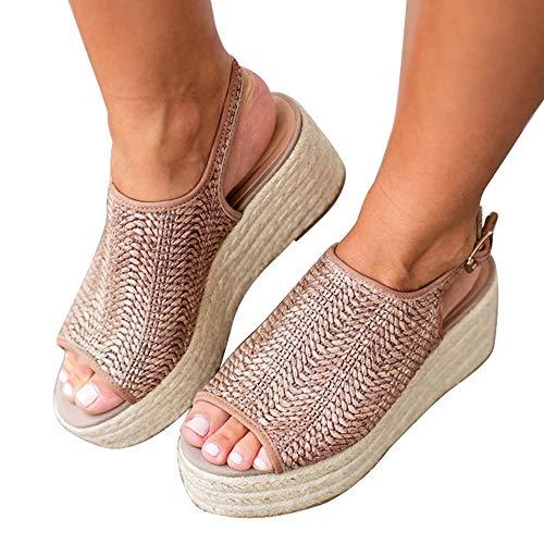 8 Wedge Espadrille - Athlefit Women's Espadrille Wedge Sandals Braided Jute Ankle Buckle Platform Summer Sandals Size 8 Jute-Oatmeal