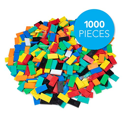 Bulk Dominoes Plastic Classic Mixed Bulk 1000pcs - Building and Stacking and Chain Reaction Toppling STEAM Toy Blocks for Kids
