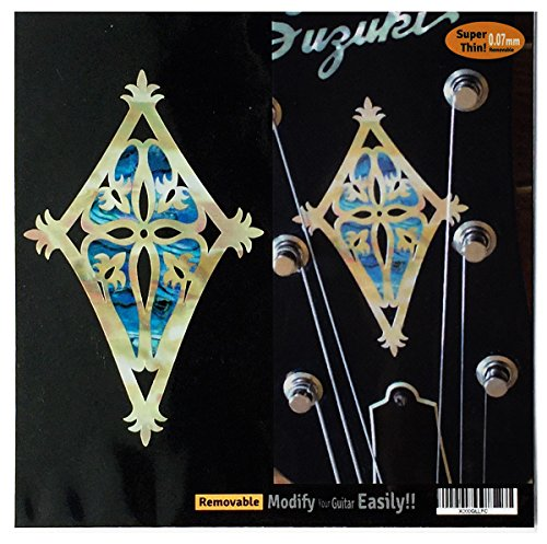 Inlay Sticker Decal Guitar Headstock In Abalone Theme Shield BL