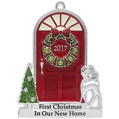 2017 Annual Door (in Red Box) Doorstep with Trees and Reindeer with Glow-in-the-Dark Windows Keepsake Harvey Lewis™ Silver-Plated Ornament - Made with Swarovski® Elements Home Made Christmas Tree