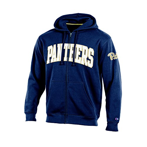 NCAA Pittsburgh Panthers Adult Men Full Zip Hooded Fleece, XX-Large, Navy (Pittsburgh Panthers Applique Ncaa)