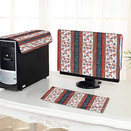 Auraisehome One Machine LCD Monitor Keyboard Cover Ethnic African Tribe Style Borders and Indian Paisley Image Dark Slate Blue White dust Cover 3 Pieces - African Slate