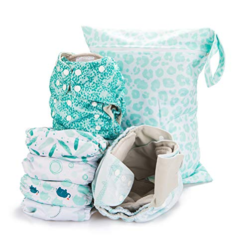 Simple Being Reusable Cloth Diapers,6 Pack Pocket Adjustable Size,Waterproof Cover,6 Inserts,Wet Bag, Double Gusset (Safari)