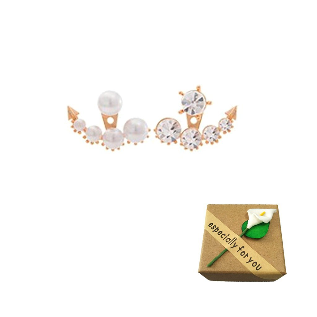 SwirlColor 1 paio di perle e strass Orecchino di moda Frontale Retro orecchini per le donne Con Free Organza Sacchetto del regalo