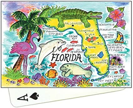Florida Map New Collectible Souvenir Playing Cards World By Shotglass//Copyrighted Design by ©agiftcorp