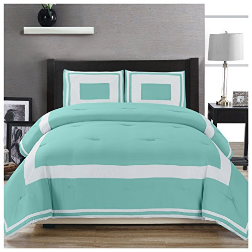 (Superior Grammercy Color Blocked Comforter Set with Pillow Sham, Luxury Hotel Bedding with Soft Microfiber Shell, All Season Down Alternative Fill - Twin/Twin XL, Teal)