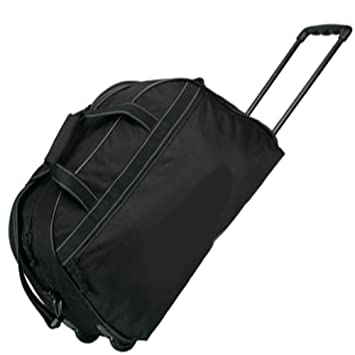 Amazon.com: Black Travel Vacation Rolling Duffel Bag w/ Wheels ...