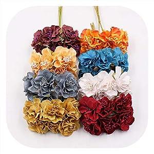 Memoirs- 6Pcs/Lot Silk Artificial Cherry Flowers Bouquet Wedding Home Decoration DIY Craft Wreath Gifts Handmade Fake Flower Accessories 54