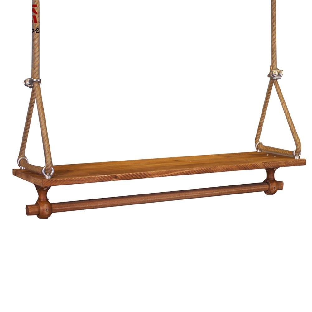 120cm QIANGDA Wall Mount Coat Rack Hanging Bracket Wood Board and Rope Display Shelf for Clothing Shop Retro LOFT Style, Multi-Size Optional (Size   120cm)